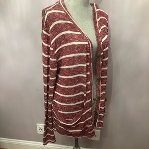 Sweaters - Plus Size Red Striped Cardigan Stretchy white 3X